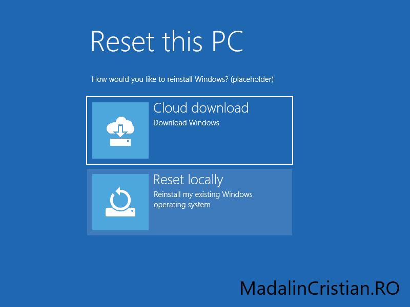 Prima versiune de Windows 10 cu Cloud Download parțial funcțional