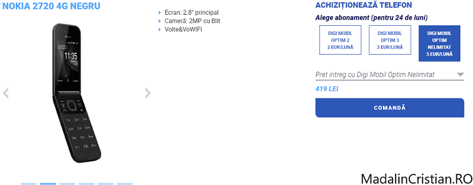 Nokia 2720 4G în oferta VoLTE și VoWiFi DIGI.Mobil