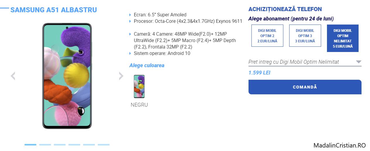 Samsung Galaxy A51 în oferta VoLTE și VoWiFi Digi.Mobil