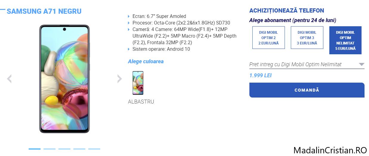 Samsung Galaxy A71 în oferta VoLTE și VoWiFi DIGI.Mobil