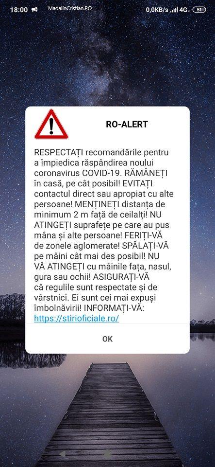 Românii sunt îndemnați să stea acasă și prin mesaje RO-Alert