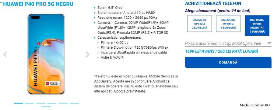 Huawei P40 Lite 5G și P40 Pro 5G în oferta VoLTE și VoWiFi DIGI.Mobil