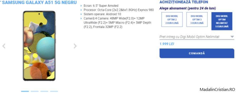 Samsung Galaxy A51 5G în oferta VoLTE și VoWiFi DIGI.Mobil