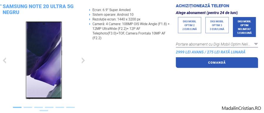 Samsung Note 20 Ultra 5G în oferta VoLTE, VoWiFi și 5G a DIGI.Mobil